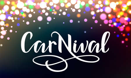 Hello Carnival banner with color lights background Imagens - 141229130