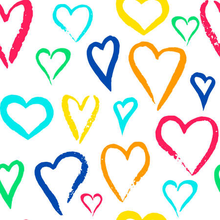 Vector seamless pattern of hand painted watercolor rainbow hearts Ilustração