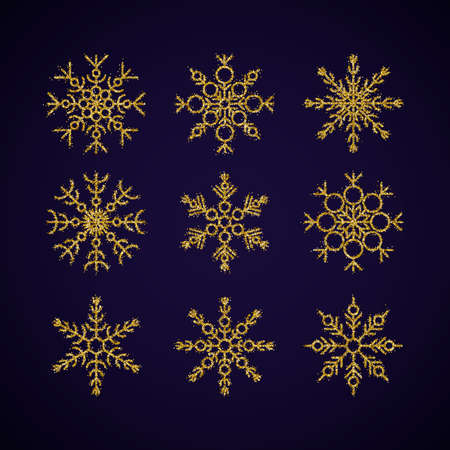 Vector illustration of gold glitter snowflakes collection isolated on a dark background. Flat snow icons, silhouette. Cute element for christmas, new year, winter design of banner, cards, flyer.