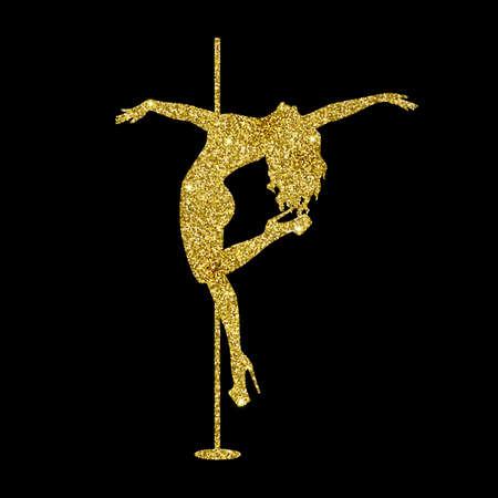 silhouette women pole dance exotic gold glitter Imagens - 141481598