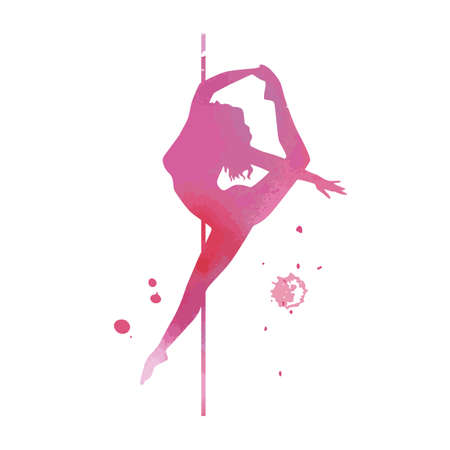 Vector watercolor pink silhouette women pole dance exotic Imagens - 141481599