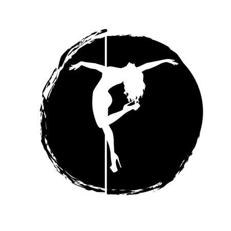 silhouette women pole dance exotic Ilustracja