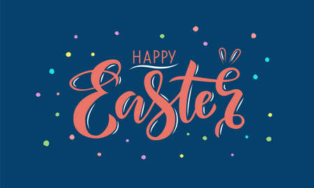 Hand drawn pink lettering happy Easter on a blue background Imagens - 141481602