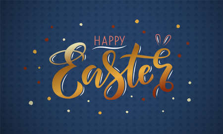 Hand drawn gold lettering happy Easter on a blue background