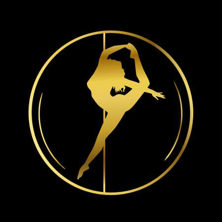 Gold logo for Dance studio, Pole dance, stripper club Imagens - 141481627