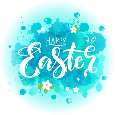 Hand drawn white lettering happy Easter on abstract watercolor cyan spot background