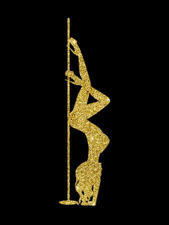 silhouette women pole dance exotic gold glitter Imagens - 141673368