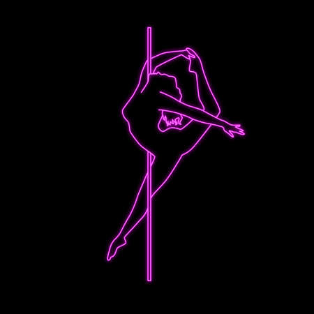 Vector silhouette pole dance with neon effect 矢量图像