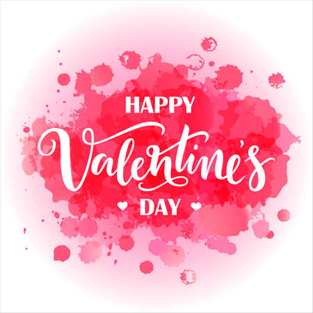Lettering Happy Valentines Day on abstarct watercolor pink spots background. Imagens - 144385001