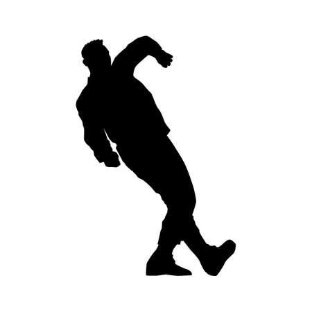 A male street dance hip hop dancer in silhouette Imagens - 145075618