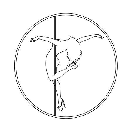silhouette women pole dance exotic   black and white
