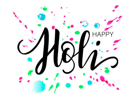 Hand drawn black lettering Happy Holi on a white background