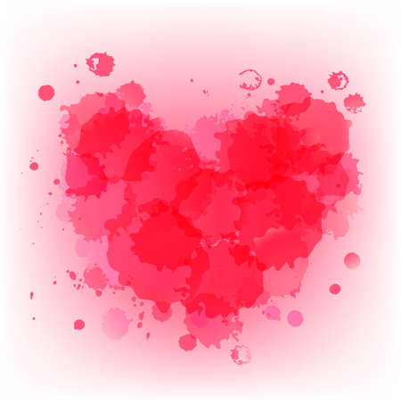 Abstarct watercolor pink spots in the shape of a heart. Ilustração