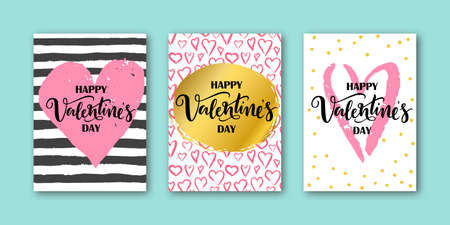 set of card for Valentines Day with lettering on pink watercolor heart, strips, confetti background. Hand drawn lettering Happy Valentines day. Vector illustration for print.