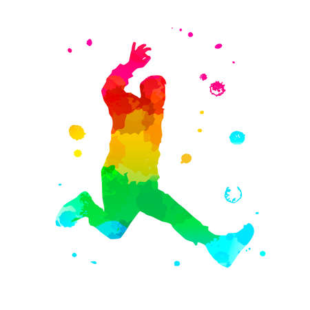 Color silhouette of a dancing man on white background. A male street dance hip hop dancer. Vector isolated man with watercolor texture for logo, sticker, banner, poster. Illustration for dance studio Stock Illustratie