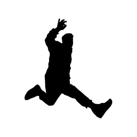black silhouette of a dancing man on white background. A male street dance hip hop dancer. Vector isolated man for logo, sticker, logotype, icon, banner, poster. Illustration for dance studio Imagens - 141959642