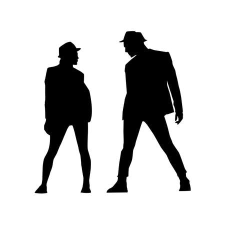 silhouettes of man and woman in profile on a white background. A street dance hip hop dancers. Vector isolated man for logo, sticker, logotype, icon, banner, poster. Illustration for dance studio. Ilustração