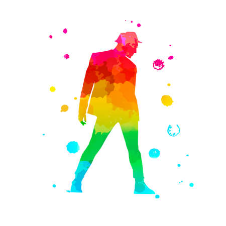Color silhouette of a dancing man in profile on white background. A male street dance hip hop dancer. Vector isolated man with watercolor texture for logo, sticker, banner, poster. Imagens - 142919844