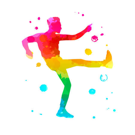 Color silhouette of a dancing man on white background. A male street dance hip hop dancer. Vector isolated man with watercolor texture for logo, sticker, banner, poster. Illustration for dance studio Ilustração