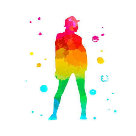 Profile girl in a jacket and hat. Color silhouette of a dancing women on white background. A street dance hip hop dancer. Vector isolated women with watercolor texture for print, banner, poster