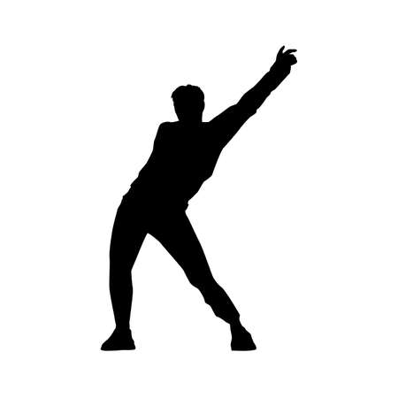 black silhouette of a dancing man on white background. A male street dance hip hop dancer. Vector isolated man for logo, sticker, logotype, icon, banner, poster. Illustration for dance studio