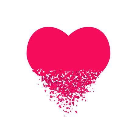 exploding heart with debris. Isolated red illustration Imagens - 143693315