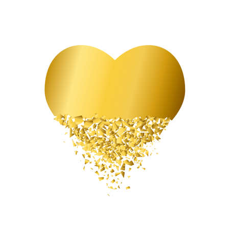 exploding heart with debris. Isolated gold illustration