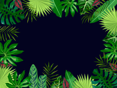 Vector dark blue background with tropical leaves