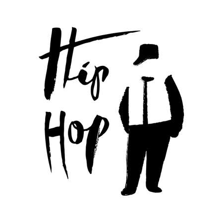 A male street dance hip hop dancer in silhouette and lettering Stock Illustratie