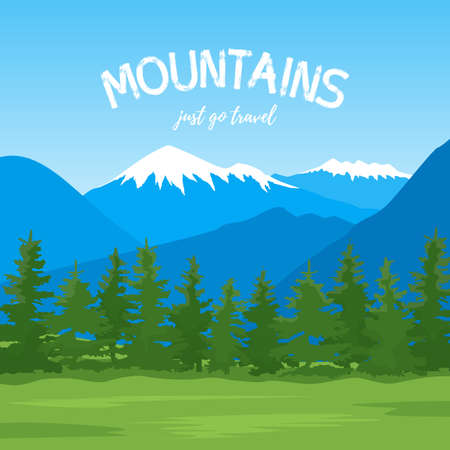 Vector illustration of a mountain landscape with a forest.