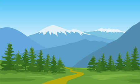 Vector illustration of a mountain landscape with a forest. Imagens - 143376546