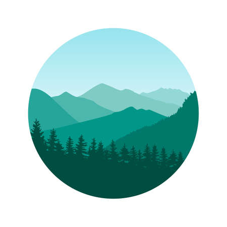 Vector illustration of a mountain landscape with a forest. Flat cartoon green color illustration for hike, track, camp. Outdoor and hiking concept. Template with mountains and trees silhouette. Ilustração