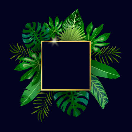 Golden square frame and tropical leaves, palms, monstera leaf, floral vector background. Fashionable template on dark background for banner, greeting card, post, sticker, invitation, wedding, sale Imagens - 143414702