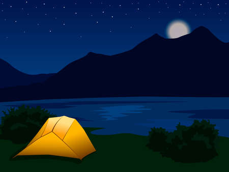 landscape with silhouettes of mountains, lake, river and stars in the sky. Night mountain landscape with illuminated orange tent. Vector illustration for hike, track, camp Imagens - 143940429