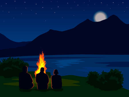 landscape with silhouettes of mountains, lake, river and stars in the sky. Night mountain landscape with silhouettes of people around the fire. Vector illustration for hike, track, camp Ilustração