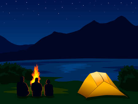 Vector illustration with silhouettes of people around the fire and illuminated orange tent. Template for hik, track, camp. Night mountain landscape with mountains, lake, river and stars in the sky.