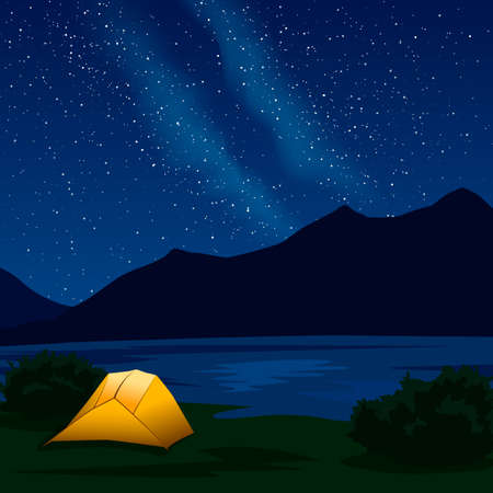 Landscape with silhouettes of mountains and stars in the sky and Milky Way. Night mountain landscape with illuminated orange tent. Vector vertical illustration for hike, track, camp in a flat style. Ilustração