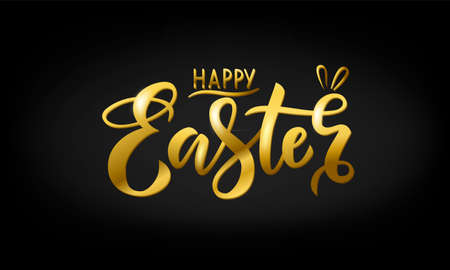 Hand drawn gold lettering happy Easter on a black background