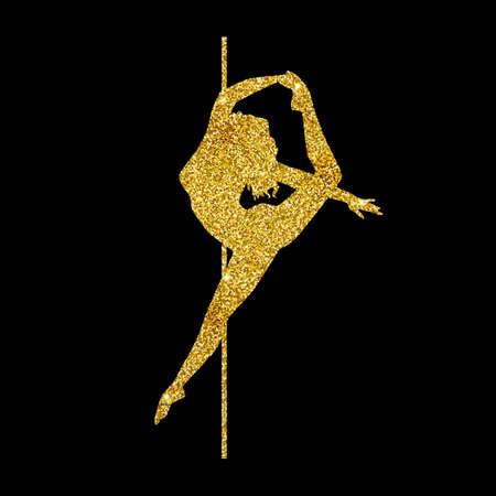 silhouette women pole dance exotic gold glitter Imagens - 145075623