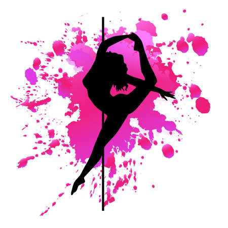 silhouette pole dance exotic on pink blot