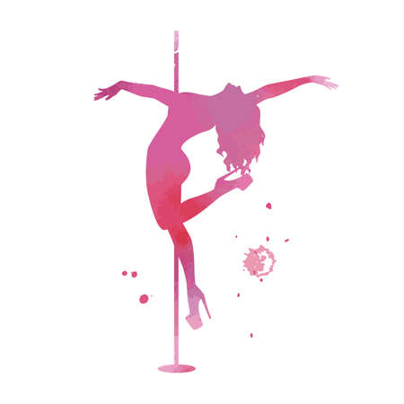 Vector watercolor pink silhouette women pole dance exotic Imagens - 145075624
