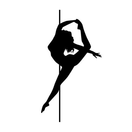 Vector silhouette pole dance on a white background