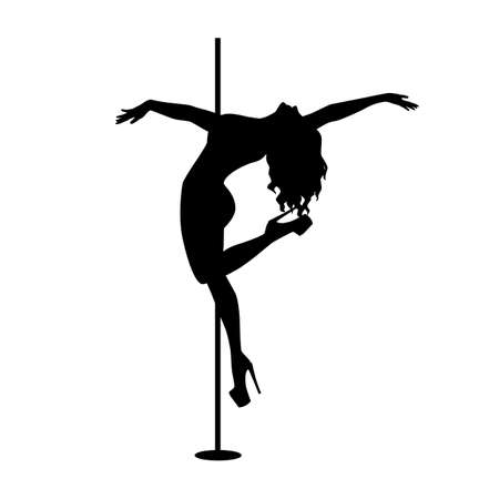 Vector silhouette of girl and pole on a white background. Pole dance illustration for fitness, striptease dancers, exotic dance.
