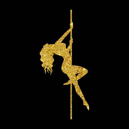 silhouette women pole dance exotic gold glitter