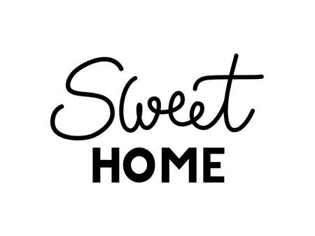 phrase Sweet home on a white background. Hand lettering typography poster. For housewarming posters, greeting cards, home decorations, interior. Vector black illustration for post, print, design Imagens - 145379078