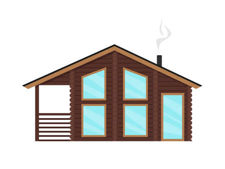 Vector illustration of a flat style home on a white background. Cozy wooden modern house with large windows. Finnish, Scandinavian traditional house