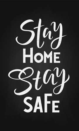 phrase Stay home stay safe on a black background. Lettering typography poster for self quarantine times. Coronavirus, COVID 19 protection logo. Vector white illustration for post, print, design Ilustração