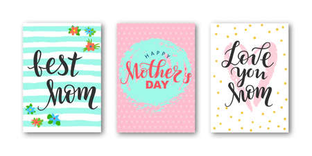 Card set with lettering I love mom, happy Mother's Day with decorative elements. Modern naive inscription for design, background, card, print, sticker, banner. Greeting card for Happy Mother's Day Ilustração