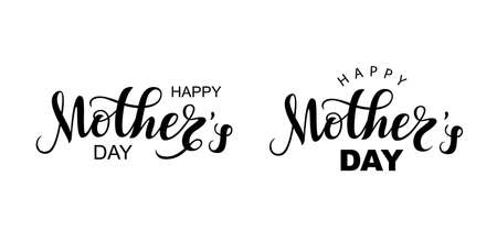 Vector Handwritten lettering Happy Mother's Day on white background. Black modern naive inscription for design, background, card, print, sticker, banner. Happy Mother s Day Calligraphy greeting card. Ilustração