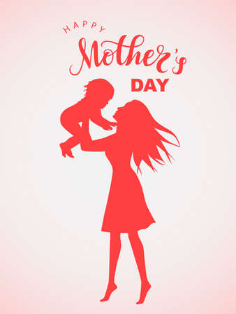 Women silhouette with little child and lettering Happy Mothers Day Ilustração